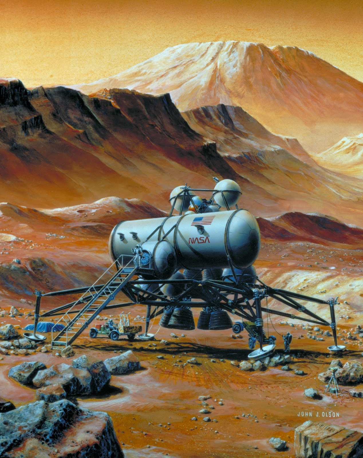 Mars base by John J. Olson (NASA, 1992)