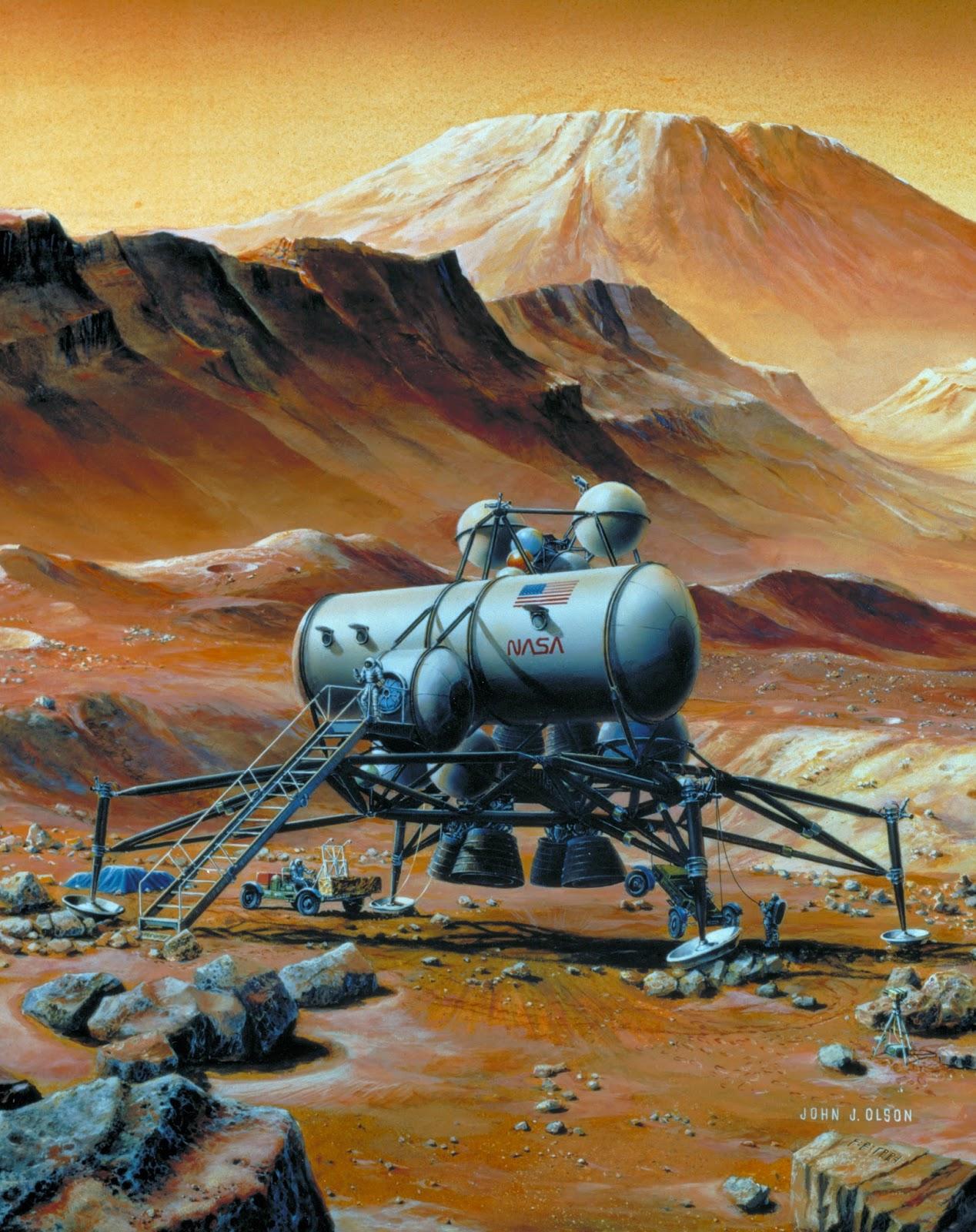 Mars base by John J. Olson (NASA, 1992)